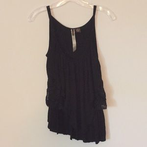 Layered black tank top